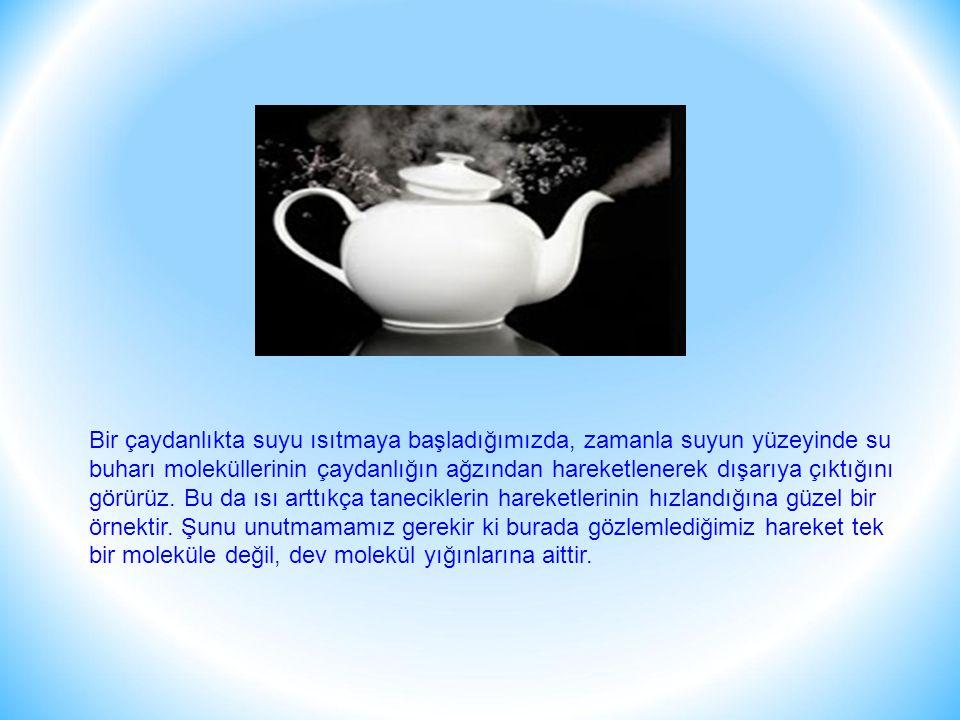 Bir çaydanlıkta suyu ısıtmaya başladığımızda, zamanla suyun yüzeyinde su buharı moleküllerinin çaydanlığın ağzından hareketlenerek dışarıya çıktığını