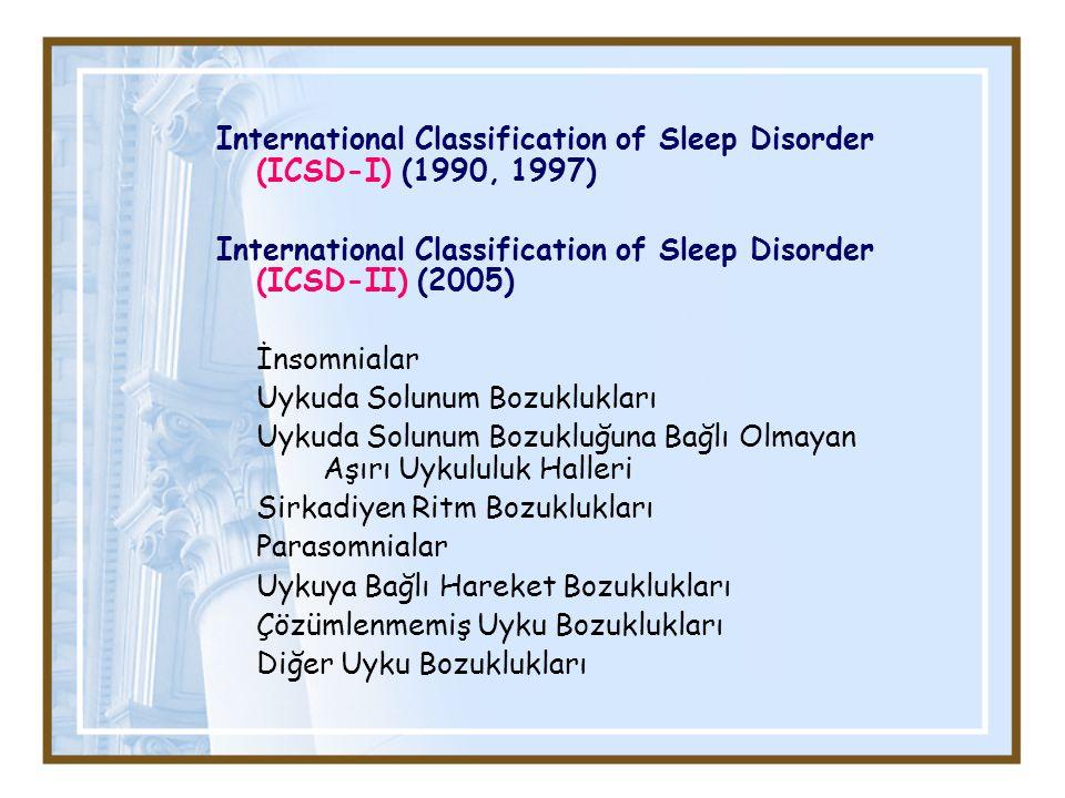 International Classification of Sleep Disorder (ICSD-I) (1990, 1997) International Classification of Sleep Disorder (ICSD-II) (2005) İnsomnialar Uykuda Solunum Bozuklukları Uykuda Solunum Bozukluğuna Bağlı Olmayan Aşırı Uykululuk Halleri Sirkadiyen Ritm Bozuklukları Parasomnialar Uykuya Bağlı Hareket Bozuklukları Çözümlenmemiş Uyku Bozuklukları Diğer Uyku Bozuklukları