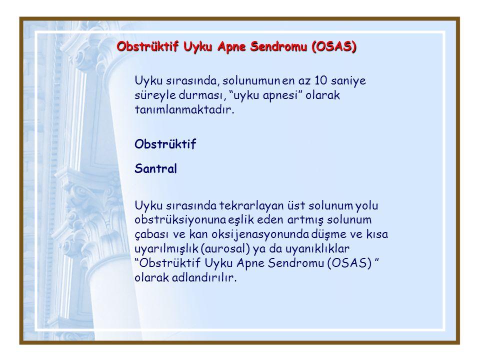 Obstrüktif Uyku Apne Sendromu (OSAS) Uyku sırasında, solunumun en az 10 saniye süreyle durması, uyku apnesi olarak tanımlanmaktadır.