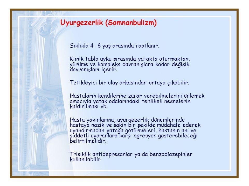 Uyurgezerlik (Somnanbulizm) Sıklıkla 4- 8 yaş arasında rastlanır.