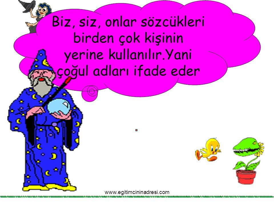 Biz, siz, onlar sözcükleri birden çok kişinin yerine kullanılır.Yani çoğul adları ifade eder www.egitimcininadresi.com