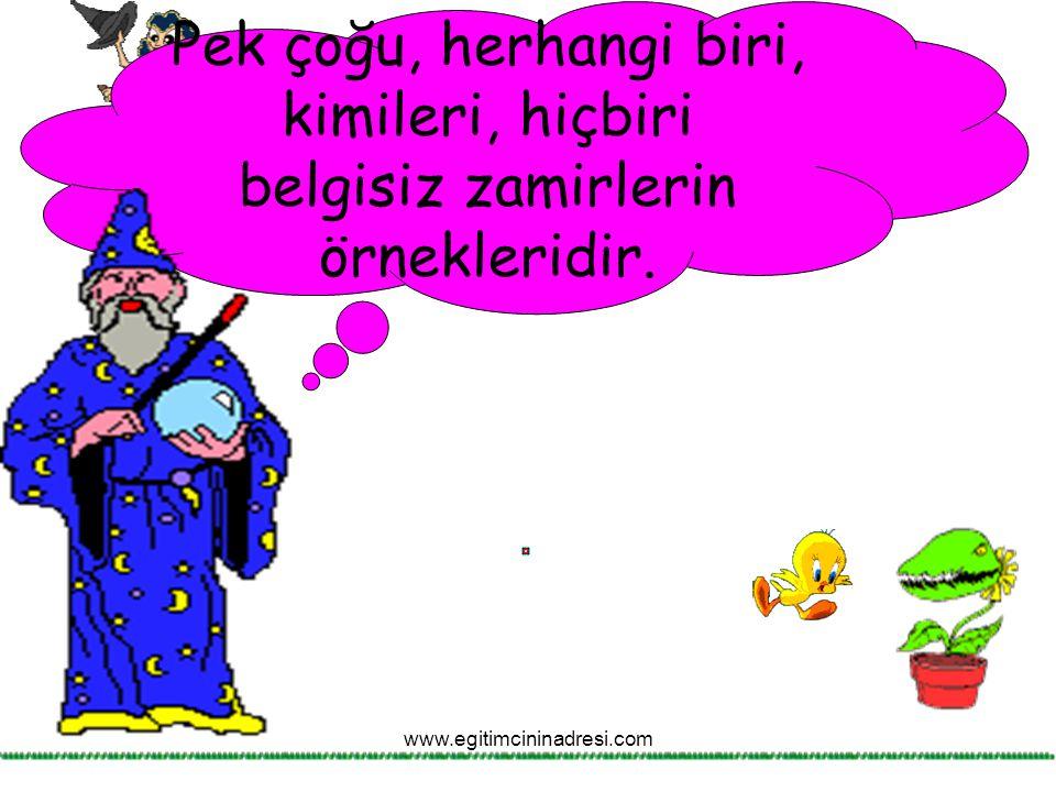 Pek çoğu, herhangi biri, kimileri, hiçbiri belgisiz zamirlerin örnekleridir. www.egitimcininadresi.com