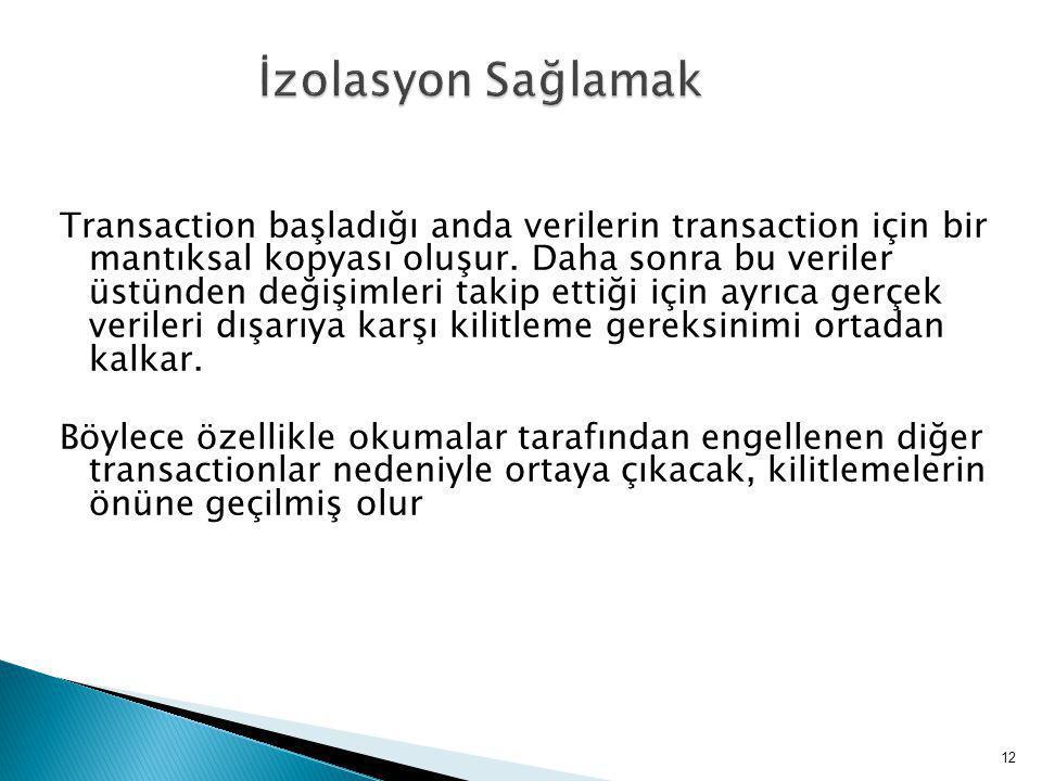 Transaction başladığı anda verilerin transaction için bir mantıksal kopyası oluşur.