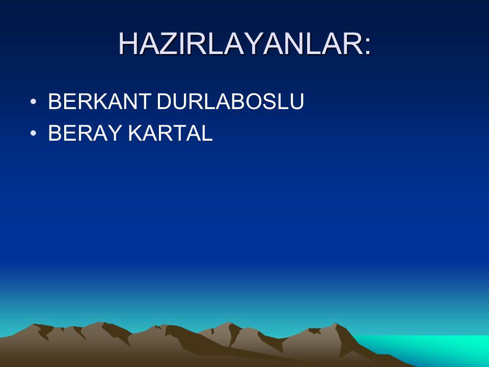 HAZIRLAYANLAR: BERKANT DURLABOSLU BERAY KARTAL