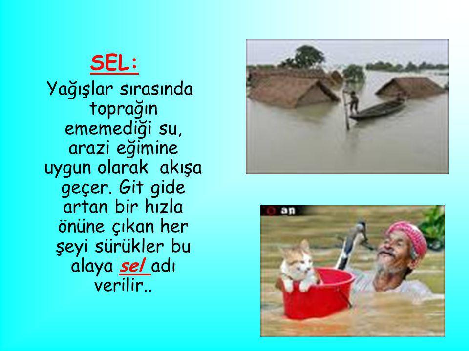 SEL: Yağışlar sırasında toprağın ememediği su, arazi eğimine uygun olarak akışa geçer. Git gide artan bir hızla önüne çıkan her şeyi sürükler bu alaya