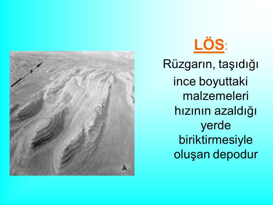 LÖS : Rüzgarın, taşıdığı ince boyuttaki malzemeleri hızının azaldığı yerde biriktirmesiyle oluşan depodur