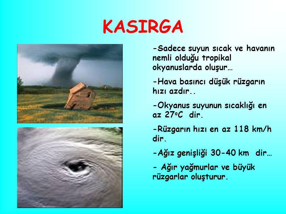 KASIRGA -Sadece suyun sıcak ve havanın nemli olduğu tropikal okyanuslarda oluşur… -Hava basıncı düşük rüzgarın hızı azdır.. -Okyanus suyunun sıcaklığı