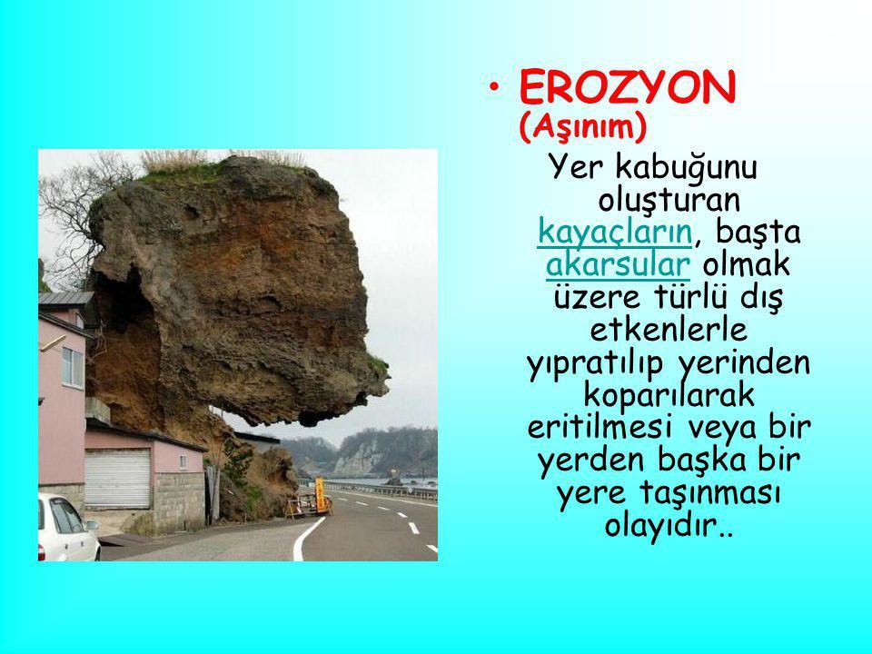 EROZYON (Aşınım) Yer kabuğunu oluşturan kayaçların, başta akarsular olmak üzere türlü dış etkenlerle yıpratılıp yerinden koparılarak eritilmesi veya b