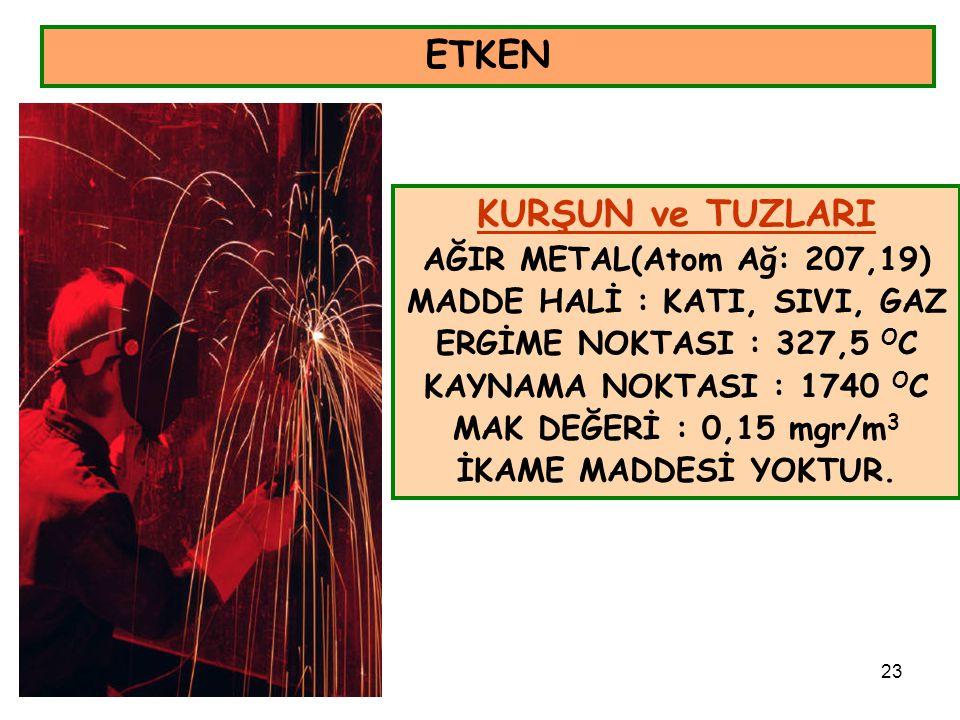 23 ETKEN KURŞUN ve TUZLARI AĞIR METAL(Atom Ağ: 207,19) MADDE HALİ : KATI, SIVI, GAZ ERGİME NOKTASI : 327,5 O C KAYNAMA NOKTASI : 1740 O C MAK DEĞERİ :