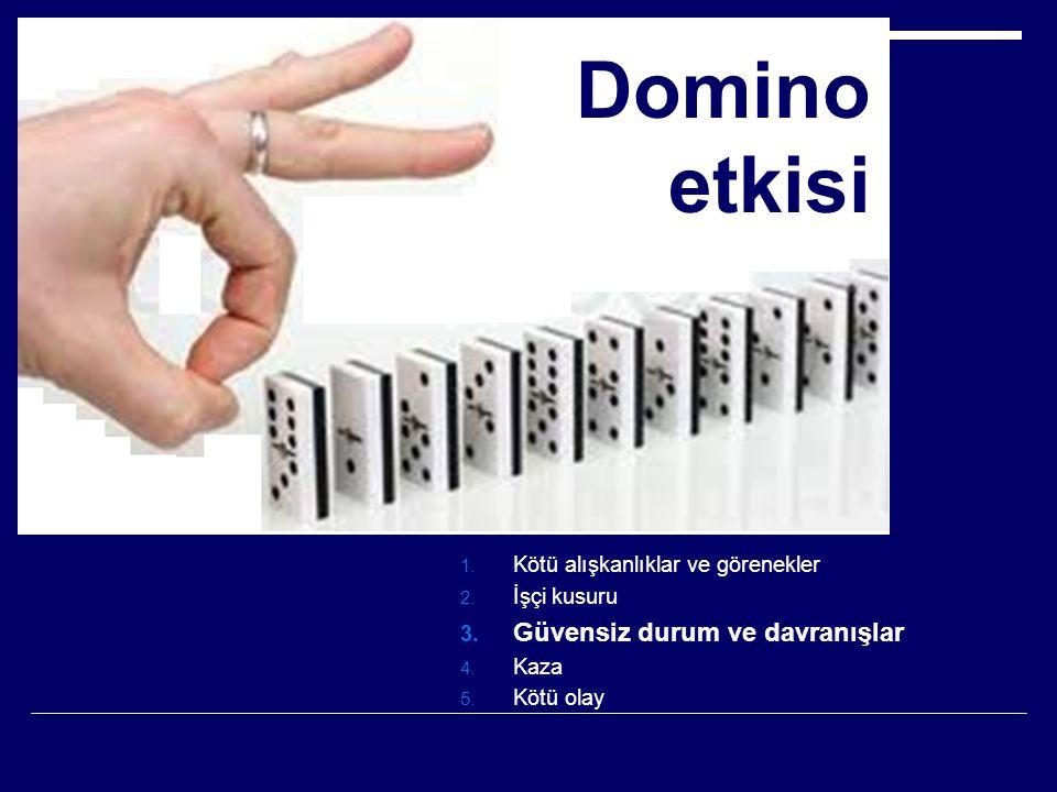 Domino etkisi 1. Kötü alışkanlıklar ve görenekler 2. İşçi kusuru 3. Güvensiz durum ve davranışlar 4. Kaza 5. Kötü olay