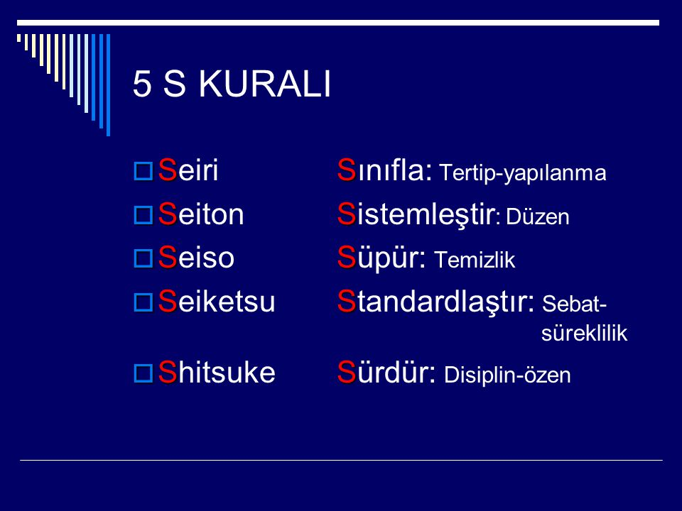 5 S KURALI  SS  Seiri Sınıfla: Tertip-yapılanma  SS  Seiton Sistemleştir : Düzen  SS  Seiso Süpür: Temizlik  SS  Seiketsu Standardlaştır: Seba