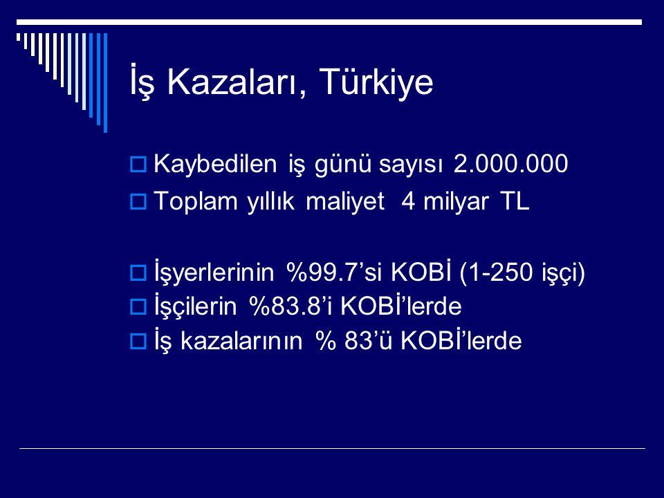 İş Kazaları, Türkiye  Kaybedilen iş günü sayısı 2.000.000  Toplam yıllık maliyet 4 milyar TL  İşyerlerinin %99.7'si KOBİ (1-250 işçi)  İşçilerin %