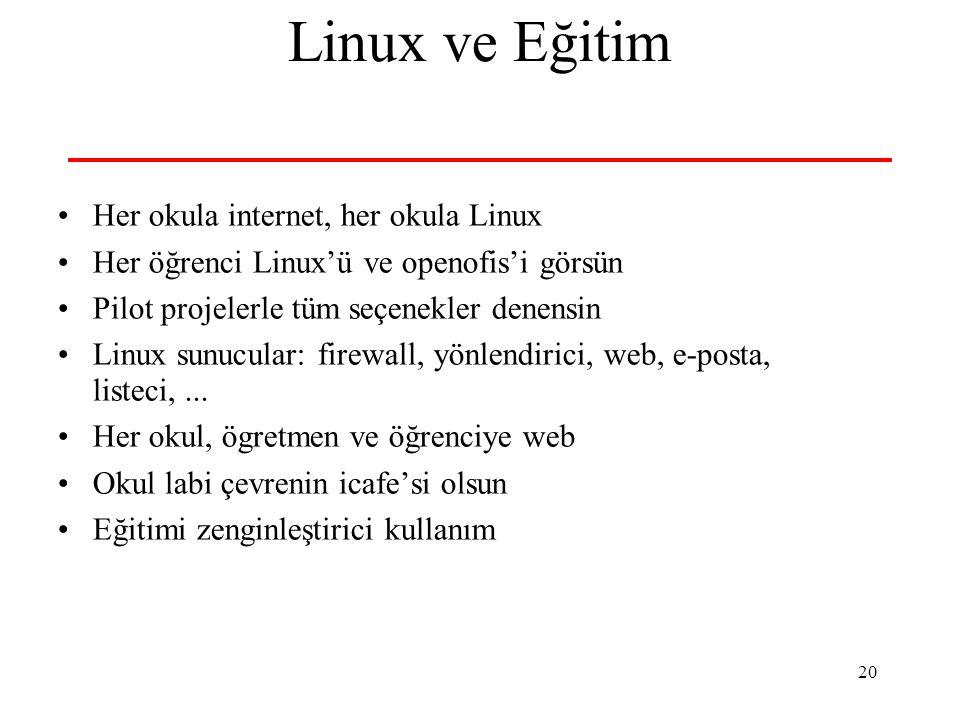 20 Linux ve Eğitim Her okula internet, her okula Linux Her öğrenci Linux'ü ve openofis'i görsün Pilot projelerle tüm seçenekler denensin Linux sunucular: firewall, yönlendirici, web, e-posta, listeci,...
