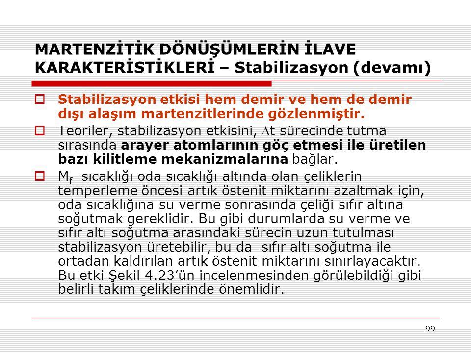 99 MARTENZİTİK DÖNÜŞÜMLERİN İLAVE KARAKTERİSTİKLERİ – Stabilizasyon (devamı)  Stabilizasyon etkisi hem demir ve hem de demir dışı alaşım martenzitlerinde gözlenmiştir.