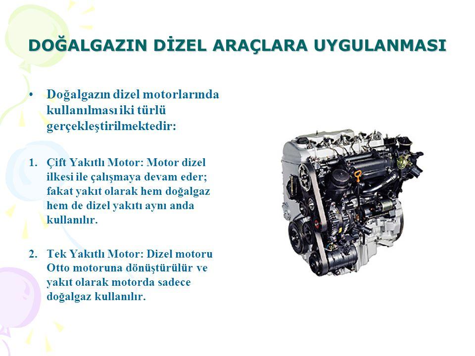 DOĞALGAZIN DİZEL ARAÇLARA UYGULANMASI Doğalgazın dizel motorlarında kullanılması iki türlü gerçekleştirilmektedir: 1.Çift Yakıtlı Motor: Motor dizel ilkesi ile çalışmaya devam eder; fakat yakıt olarak hem doğalgaz hem de dizel yakıtı aynı anda kullanılır.