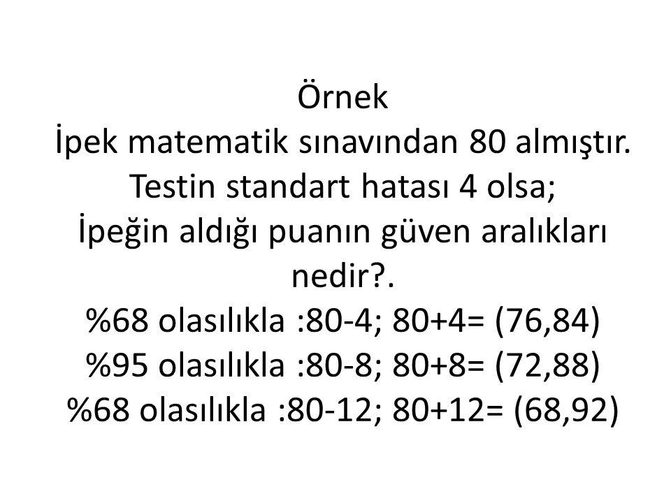 Örnek İpek matematik sınavından 80 almıştır.