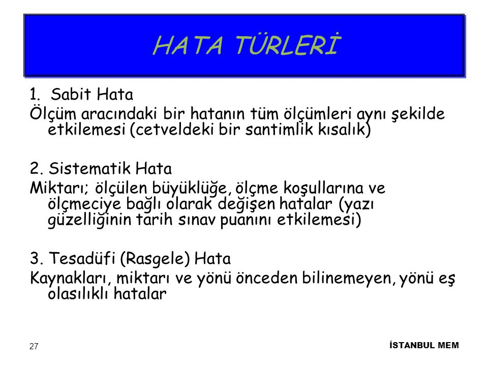 HATA TÜRLERİ 1.