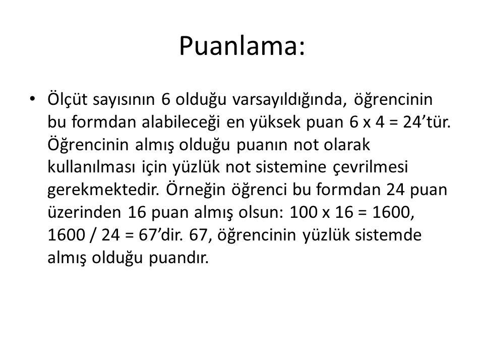 Puanlama: Ölçüt sayısının 6 olduğu varsayıldığında, öğrencinin bu formdan alabileceği en yüksek puan 6 x 4 = 24'tür.