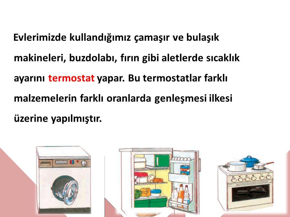 Evlerimizde kullandığımız çamaşır ve bulaşık makineleri, buzdolabı, fırın gibi aletlerde sıcaklık ayarını termostat yapar. Bu termostatlar farklı malz