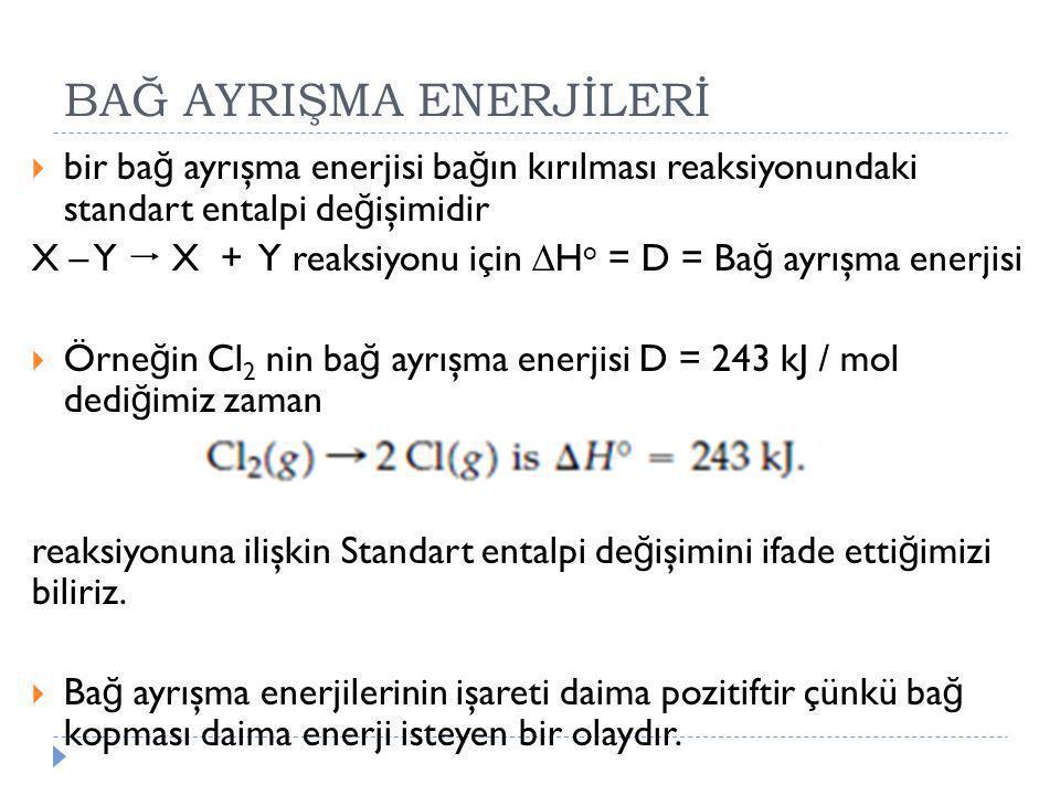 BAĞ AYRIŞMA ENERJİLERİ  bir ba ğ ayrışma enerjisi ba ğ ın kırılması reaksiyonundaki standart entalpi de ğ işimidir X – Y  X + Y reaksiyonu için  H