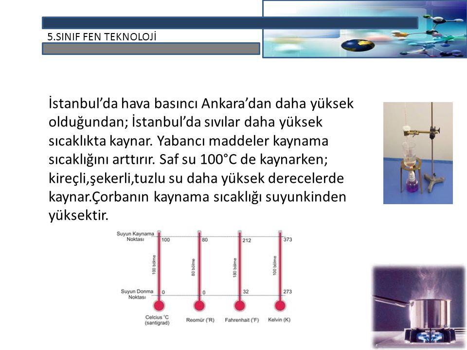 5.SINIF FEN TEKNOLOJİ İstanbul'da hava basıncı Ankara'dan daha yüksek olduğundan; İstanbul'da sıvılar daha yüksek sıcaklıkta kaynar. Yabancı maddeler