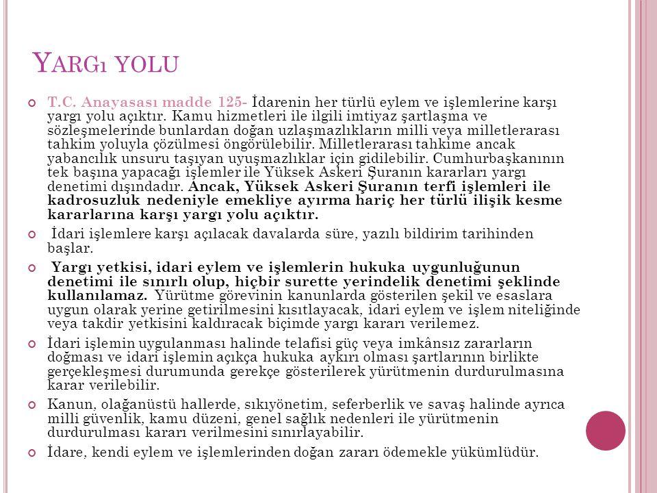 Y ARGı YOLU T.C.