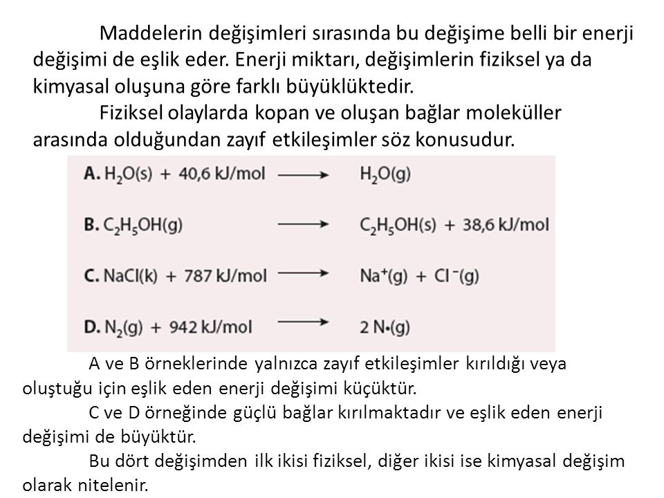 Maddenin iç yapısı ile ilgili olan özelliklere kimyasal özellikler denir.