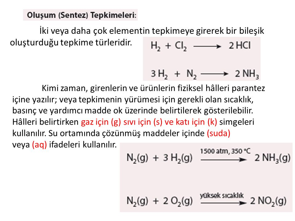 Bazı maddelerin ısı etkisiyle elementlerine veya daha basit bileşiklere dönüşmesine ilişkin tepkimelerdir.