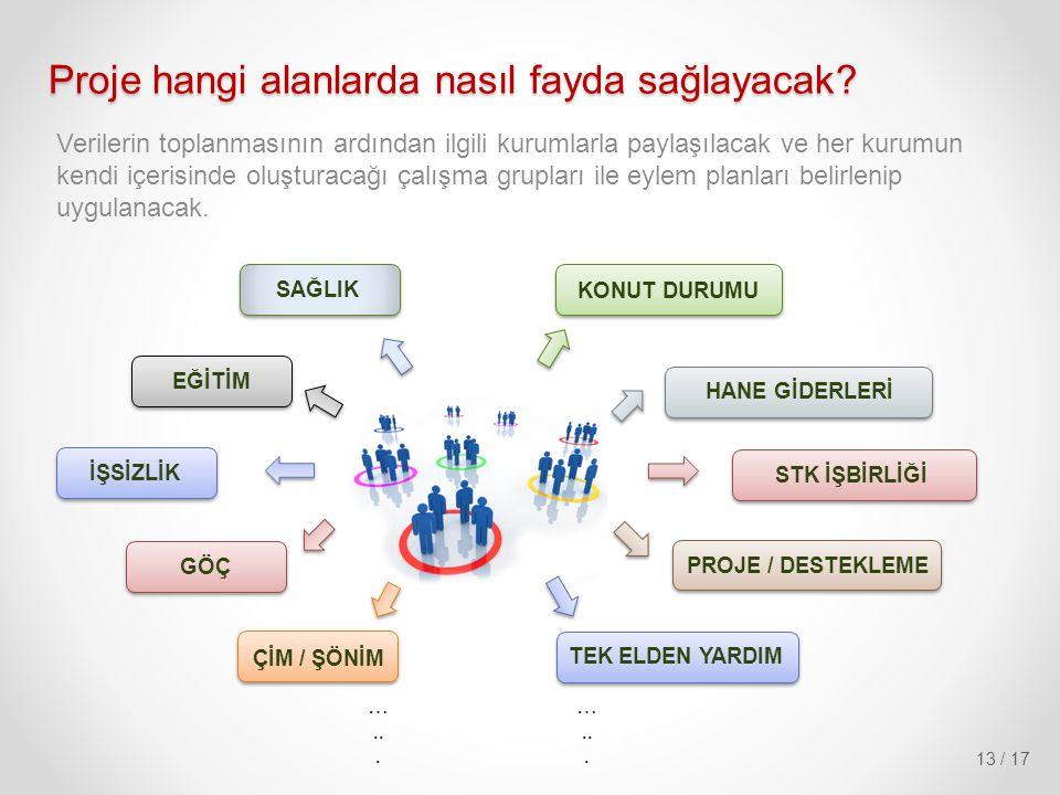 13 / 17 Verilerin toplanmasının ardından ilgili kurumlarla paylaşılacak ve her kurumun kendi içerisinde oluşturacağı çalışma grupları ile eylem planla