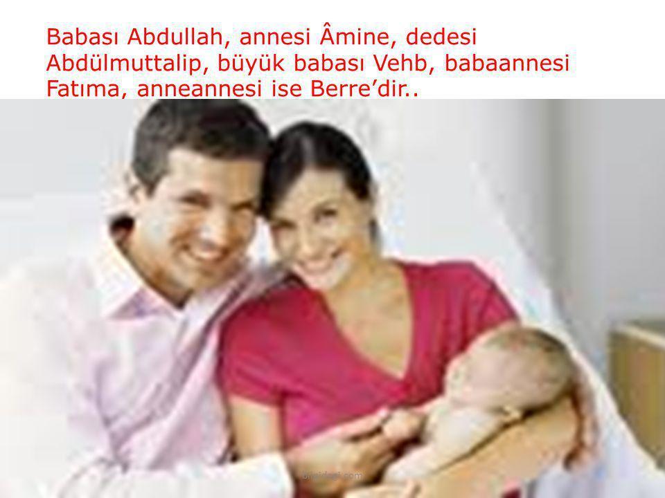 Babası Abdullah, annesi Âmine, dedesi Abdülmuttalip, büyük babası Vehb, babaannesi Fatıma, anneannesi ise Berre'dir.. bilgidagi.com