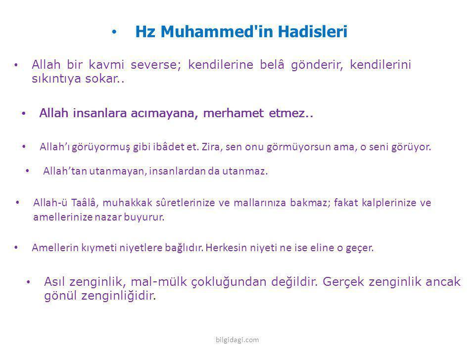 Hz Muhammed'in Hadisleri Allah bir kavmi severse; kendilerine belâ gönderir, kendilerini sıkıntıya sokar.. Allah insanlara acımayana, merhamet etmez..