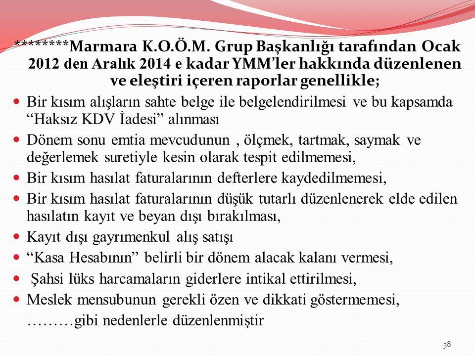 ********Marmara K.O.Ö.M. Grup Başkanlığı tarafından Ocak 2012 den Aralık 2014 e kadar YMM'ler hakkında düzenlenen ve eleştiri içeren raporlar genellik