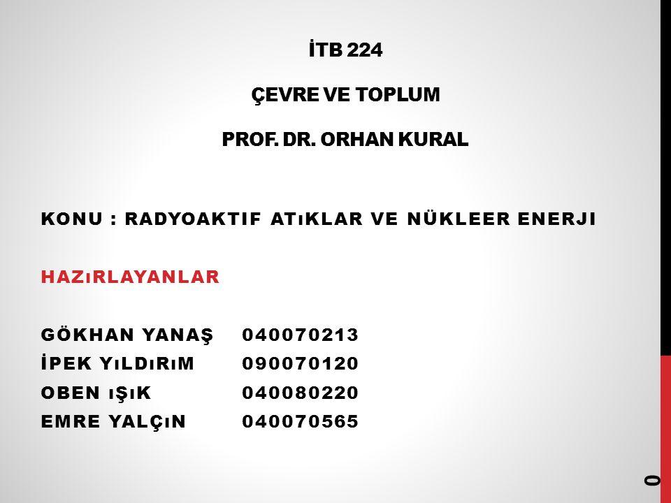 İTB 224 ÇEVRE VE TOPLUM PROF.DR.