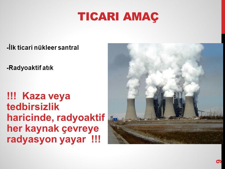 TICARI AMAÇ -İlk ticari nükleer santral -Radyoaktif atık !!! Kaza veya tedbirsizlik haricinde, radyoaktif her kaynak çevreye radyasyon yayar !!! 9