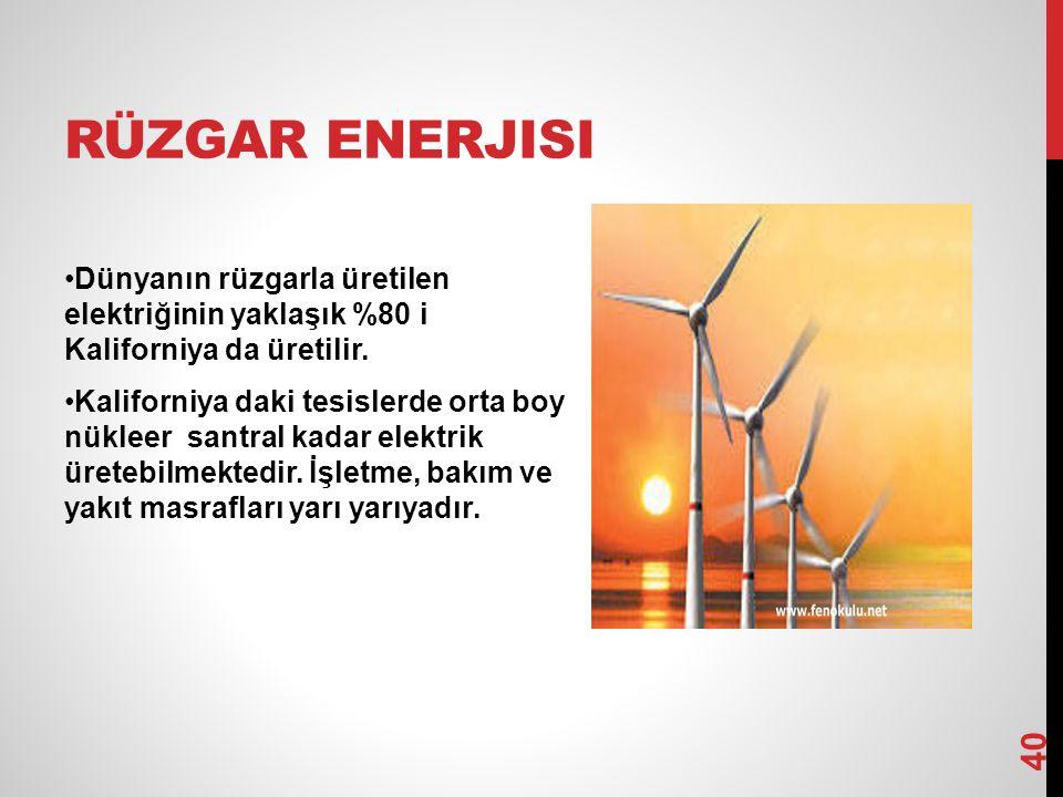 RÜZGAR ENERJISI Dünyanın rüzgarla üretilen elektriğinin yaklaşık %80 i Kaliforniya da üretilir. Kaliforniya daki tesislerde orta boy nükleer santral k