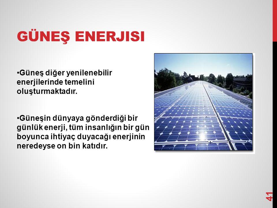 GÜNEŞ ENERJISI Güneş diğer yenilenebilir enerjilerinde temelini oluşturmaktadır. Güneşin dünyaya gönderdiği bir günlük enerji, tüm insanlığın bir gün