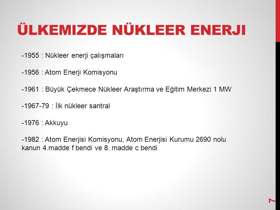 ÜLKEMIZDE NÜKLEER ENERJI -1955 : Nükleer enerji çalışmaları -1956 : Atom Enerji Komisyonu -1961 : Büyük Çekmece Nükleer Araştırma ve Eğitim Merkezi 1 MW -1967-79 : İlk nükleer santral -1976 : Akkuyu -1982 : Atom Enerjisi Komisyonu, Atom Enerjisi Kurumu 2690 nolu kanun 4.madde f bendi ve 8.