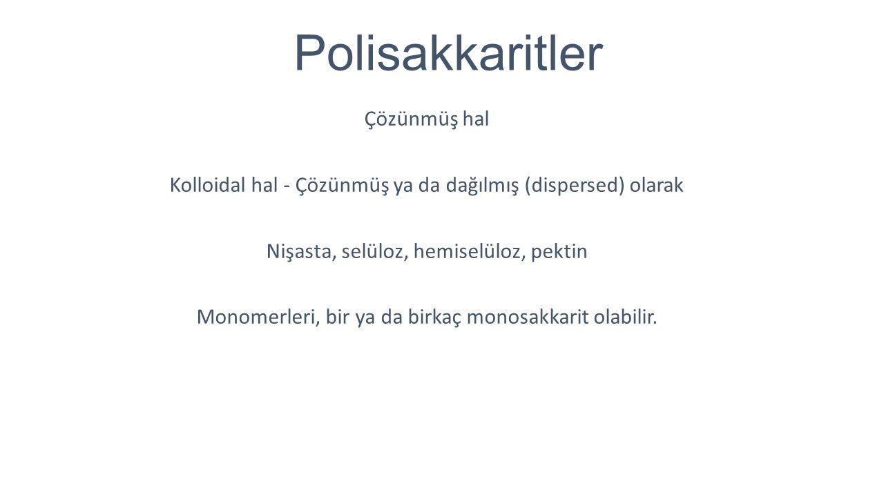 Polisakkaritler Çözünmüş hal Kolloidal hal - Çözünmüş ya da dağılmış (dispersed) olarak Nişasta, selüloz, hemiselüloz, pektin Monomerleri, bir ya da b