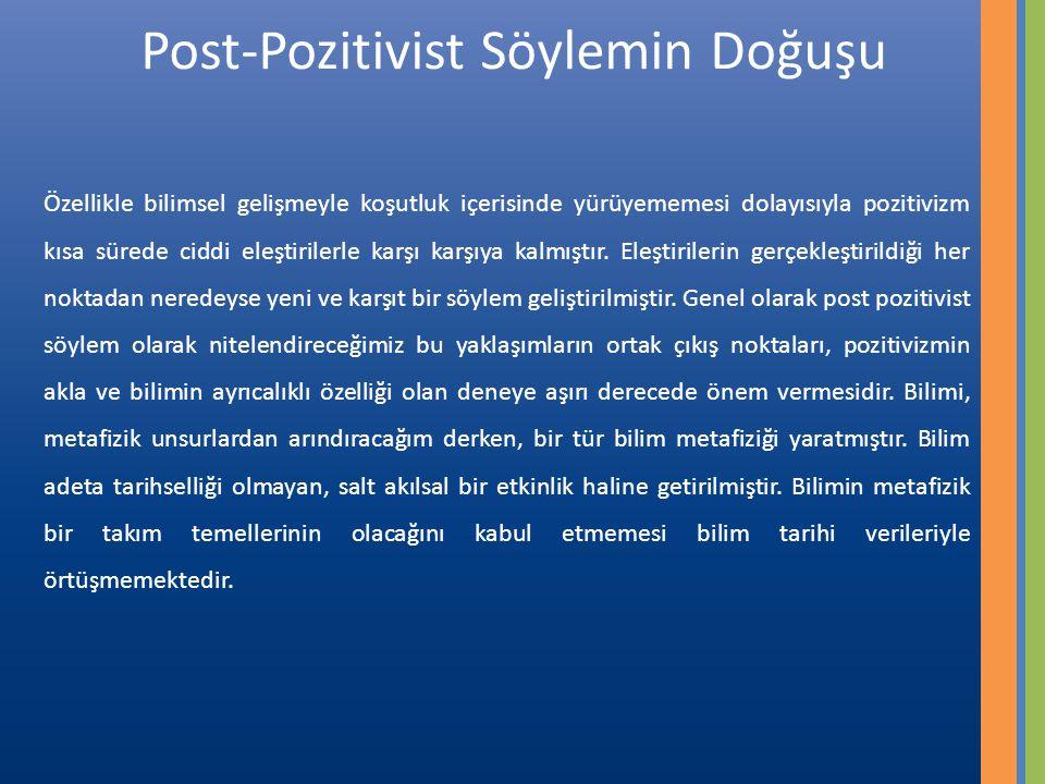 Post-Pozitivist Söylemin Doğuşu Özellikle bilimsel gelişmeyle koşutluk içerisinde yürüyememesi dolayısıyla pozitivizm kısa sürede ciddi eleştirilerle karşı karşıya kalmıştır.
