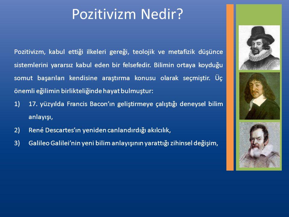 Pozitivizm, kabul ettiği ilkeleri gereği, teolojik ve metafizik düşünce sistemlerini yararsız kabul eden bir felsefedir.