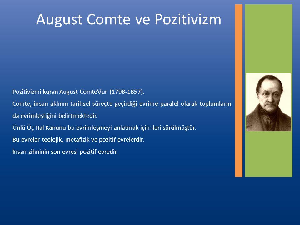 August Comte ve Pozitivizm Pozitivizmi kuran August Comte'dur (1798-1857).