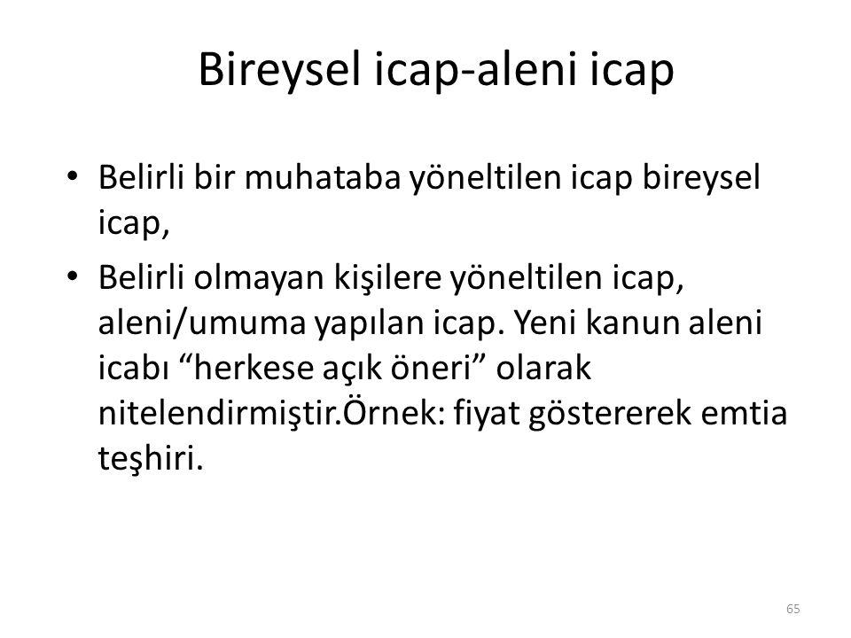 Bireysel icap-aleni icap Belirli bir muhataba yöneltilen icap bireysel icap, Belirli olmayan kişilere yöneltilen icap, aleni/umuma yapılan icap. Yeni