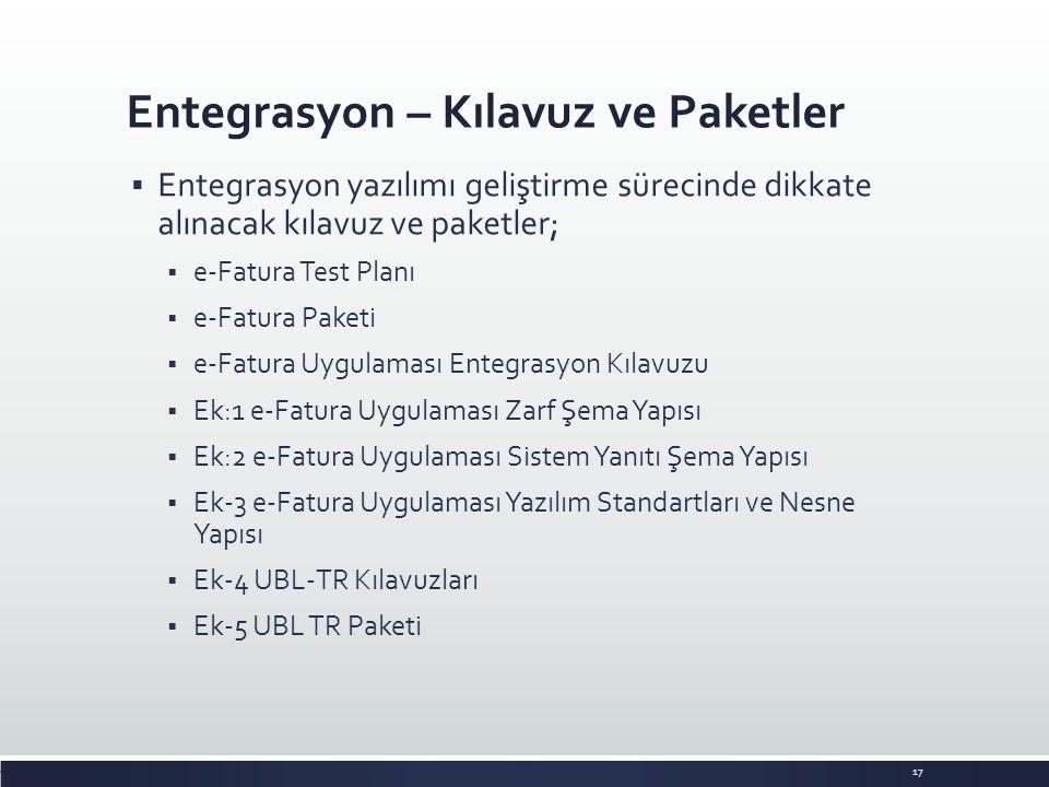 Entegrasyon – Kılavuz ve Paketler 17  Entegrasyon yazılımı geliştirme sürecinde dikkate alınacak kılavuz ve paketler;  e-Fatura Test Planı  e-Fatur