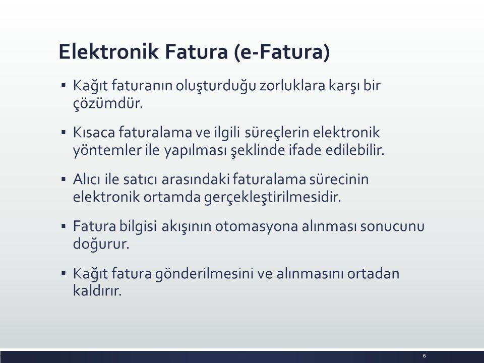 Elektronik Fatura (e-Fatura)  Kağıt faturanın oluşturduğu zorluklara karşı bir çözümdür.  Kısaca faturalama ve ilgili süreçlerin elektronik yöntemle