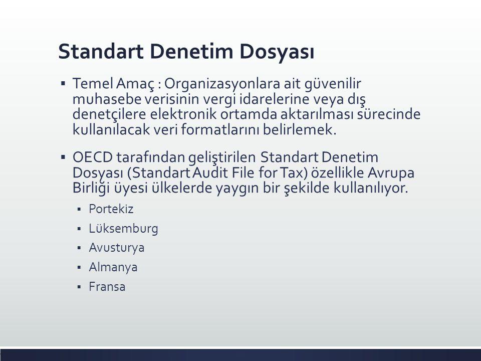 Standart Denetim Dosyası  Temel Amaç : Organizasyonlara ait güvenilir muhasebe verisinin vergi idarelerine veya dış denetçilere elektronik ortamda ak
