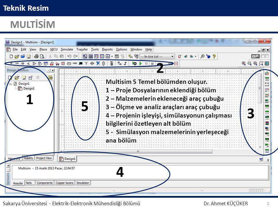 Teknik Resim MULTİSİM Dr. Ahmet KÜÇÜKER Sakarya Üniversitesi - Elektrik-Elektronik Mühendisliği Bölümü 2 5 3 4 2 1 Multisim 5 Temel bölümden oluşur. 1