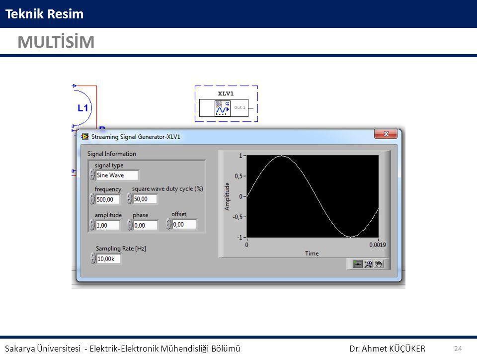 Teknik Resim MULTİSİM Dr. Ahmet KÜÇÜKER Sakarya Üniversitesi - Elektrik-Elektronik Mühendisliği Bölümü 24