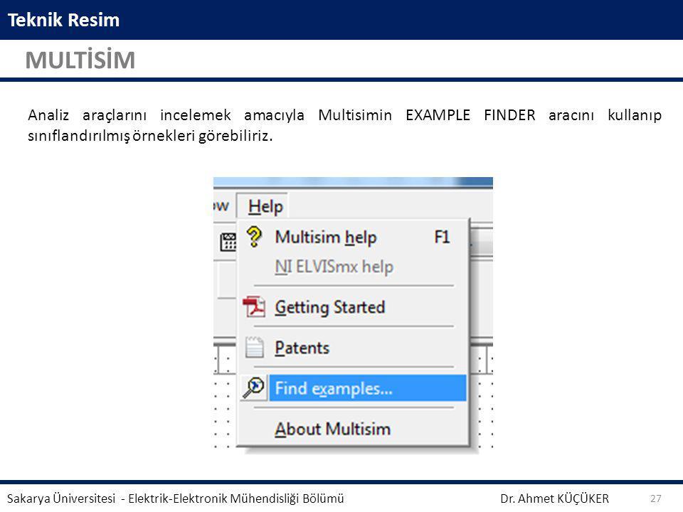 Teknik Resim MULTİSİM Dr. Ahmet KÜÇÜKER Sakarya Üniversitesi - Elektrik-Elektronik Mühendisliği Bölümü 27 Analiz araçlarını incelemek amacıyla Multisi