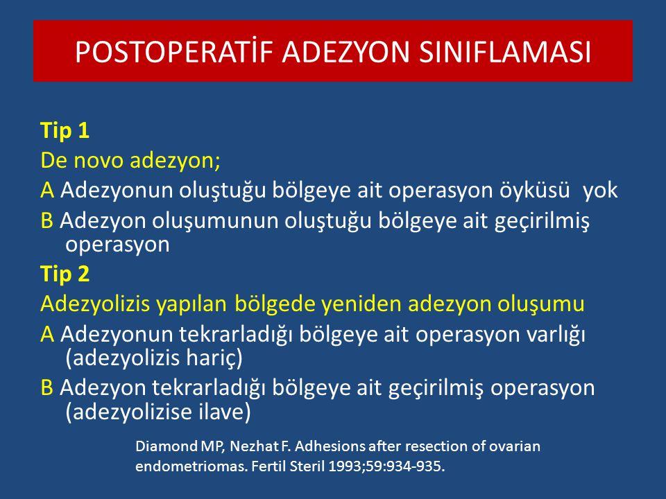 POSTOPERATİF ADEZYON SINIFLAMASI Tip 1 De novo adezyon; A Adezyonun oluştuğu bölgeye ait operasyon öyküsü yok B Adezyon oluşumunun oluştuğu bölgeye ai