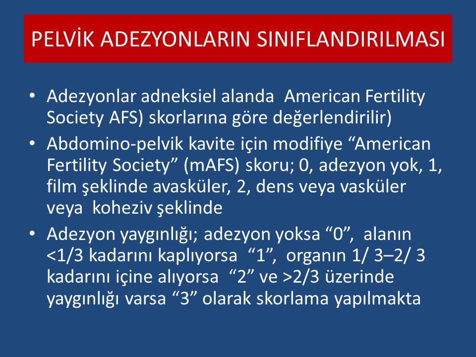 PELVİK ADEZYONLARIN SINIFLANDIRILMASI Adezyonlar adneksiel alanda American Fertility Society AFS) skorlarına göre değerlendirilir) Abdomino-pelvik kav
